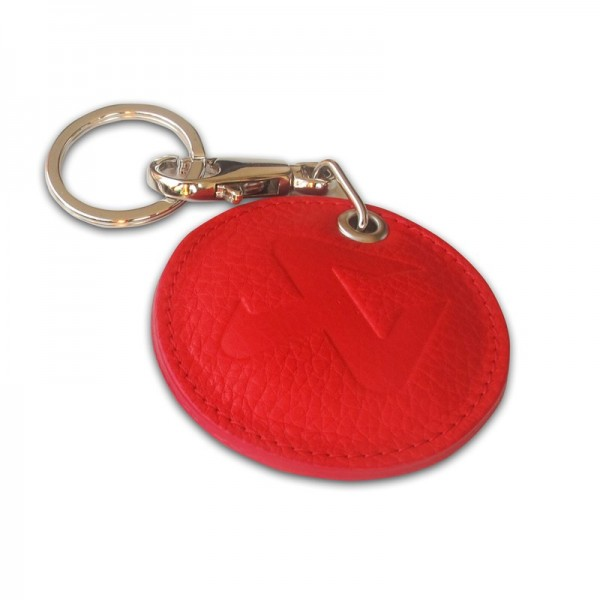 Round Leather Keychain - red