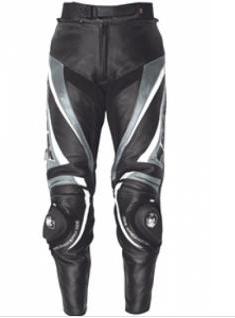 iXS Motorrad Lederhose ROBIN schwarz-grau-weiss