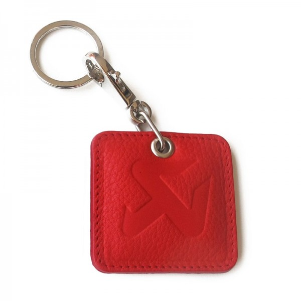 Square Leather Keychain - red