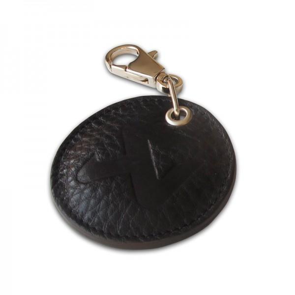 Round Leather Keychain - black