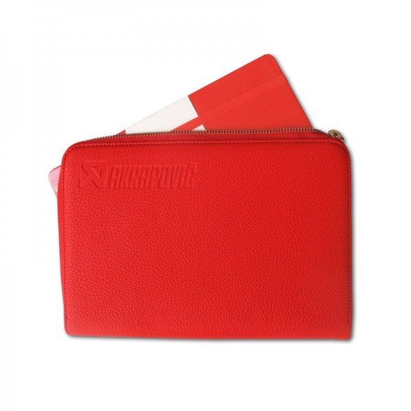 Leather Zip Notebook (S) red
